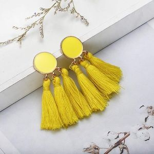 Bohemian Tassel Earrings. Yellow.